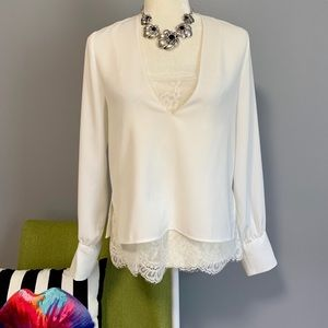Zara Flowy White Blouse With Lace Camisole C6